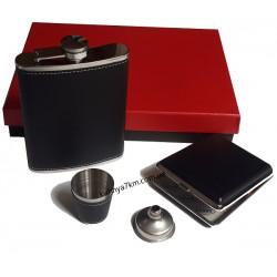 C-2188 Подарочный набор - фляга, портсигар, стопка, ручка