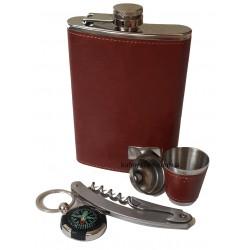 C-2187 Подарочный набор - фляга, стопка, брелок-компас, нож мультитулс